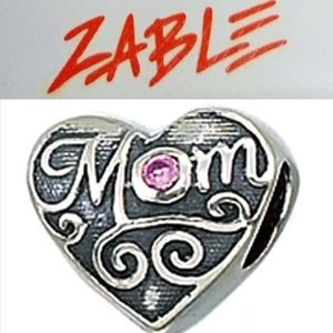 S925 Sterling Silver Pink CZ Mom Charm